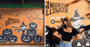 halloween photo wall Disney Springs