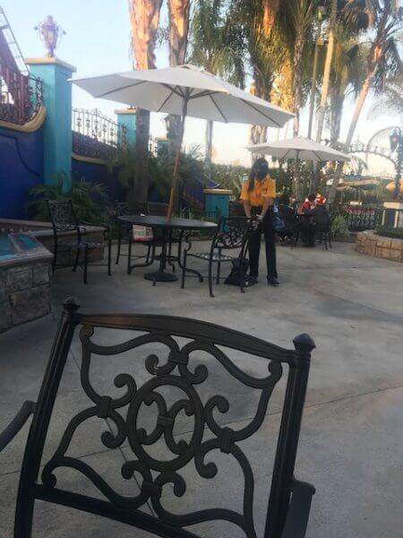 staff member cleaning at knotts
