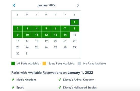 disney park pass january