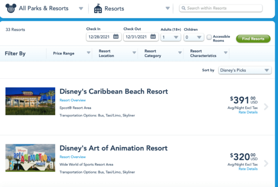 Disney Reservation 2021