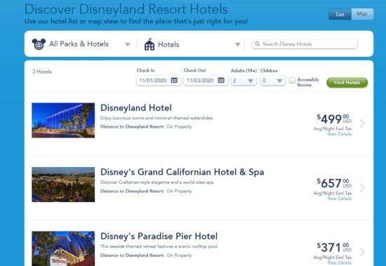 disneyland hotels november