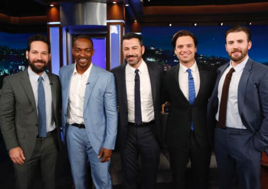Jimmy Kimmel with the cast of the Avengers