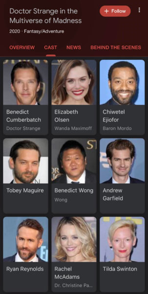 'Doctor Strange in the Multiverse of Madness' Cast List on Google