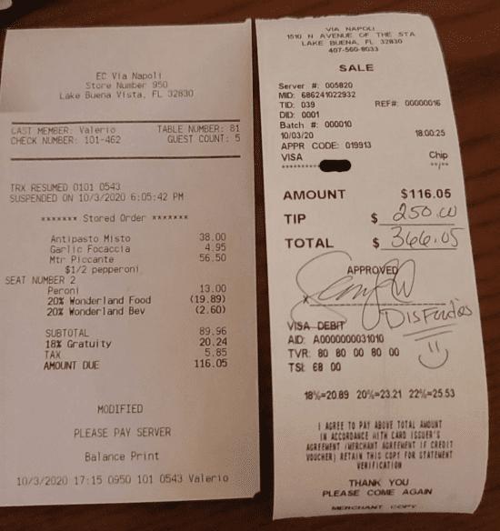 via napoli receipt tip