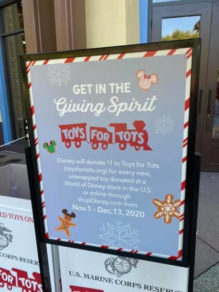 Toys for Tots sign outside World of Disney