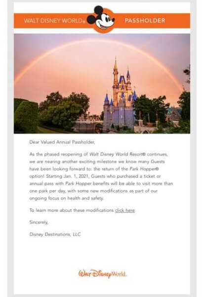 Annual Passholder Email