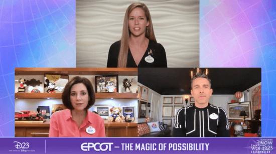 Host and Walt Disney World Ambassador, Marilyn West, with Zach Riddley, Imagineering Portfolio Executive for Walt Disney World Resort and Melissa Valiquette, Vice President of EPCOT