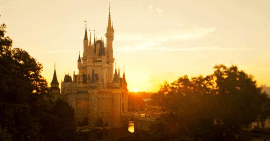cinderella castle sunset
