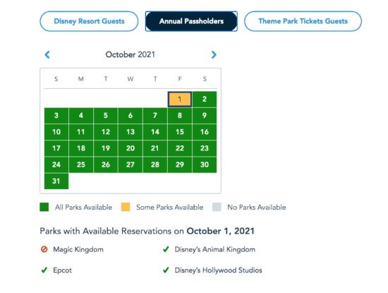 Disney World Park Pass Availability Calendar