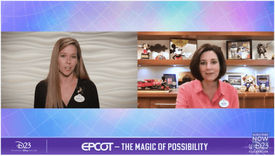 Vice President of EPCOT Melissa Valiquette (right) with host Marilyn West (left)