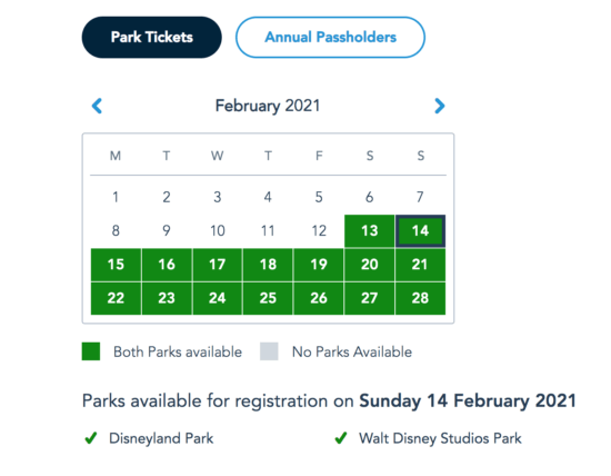 Disneyland Paris Park Pass Availability for Valentine's Day
