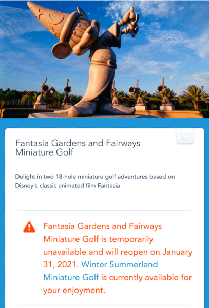 Fantasia Mini Golf Closure