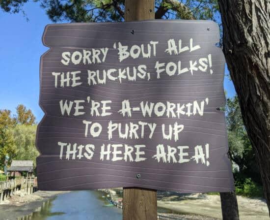 rivers of america refurbishment sign