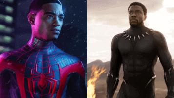 Spider-Man and Chadwick Boseman
