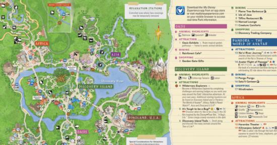 Animal Kingdom Park Map close up