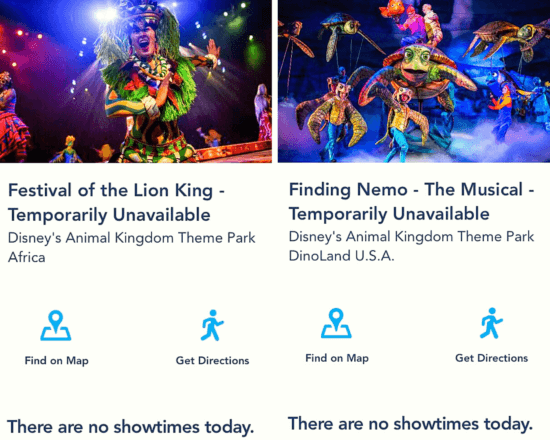 My Disney Experience Shows unavailable
