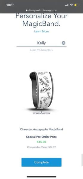 Character autograph MagicBand