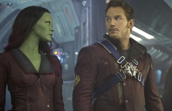 Zoe Saldana as gamora (left) AND chris pratt as peter quill star lord (right) in Guardians of the Galaxy Marvel