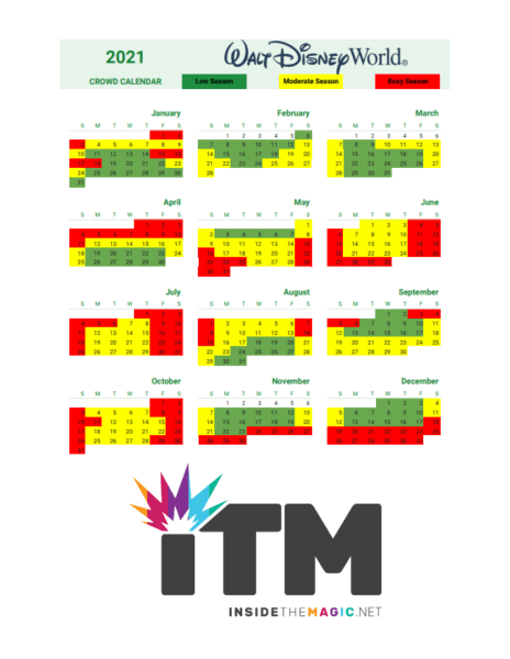 2021 disney world crowd calendar