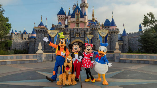Disney Characters at Sleeping Beauty Castle at Disneyland Resort in California