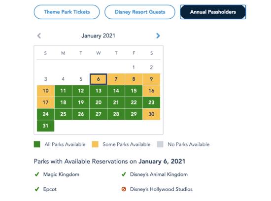 theme park availability