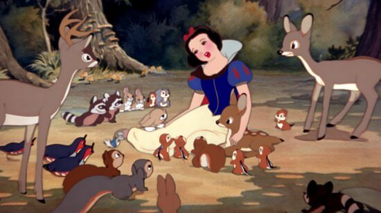 Snow White surrounded by animals