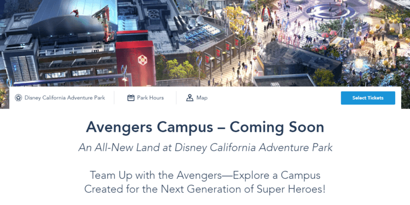 avengers campus coming soon