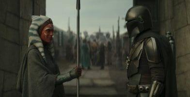 ahsoka tano (left) and din djarin (right) with beskar spear