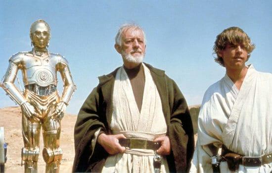 star wars a new hope set (right to left) c3po, ben kenobi, and luke skywalker