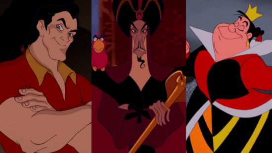 Gaston, Jafar and the Queen of Hearts