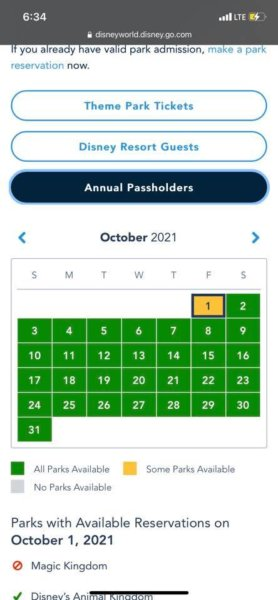 disney park pass reservations