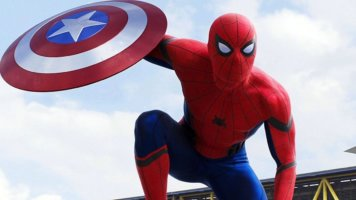 tom holland as peter parker aka spider-man in captain america civil war with shield