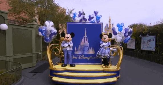 mickey and minnie walt disney world 50th anniversary float