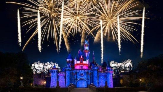 Disneyland fireworks over Sleeping Beauty Castle