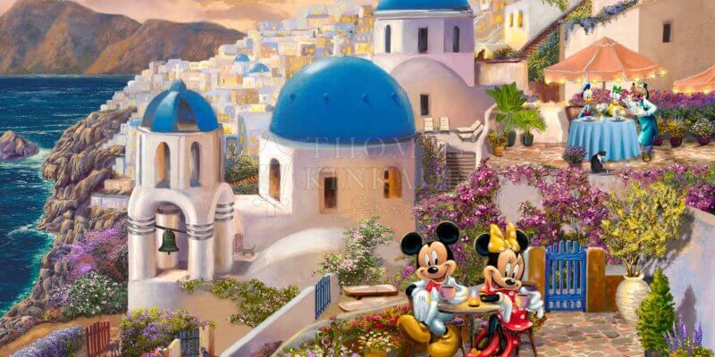 thomas kinkade studios Mickey and Minnie in Greece