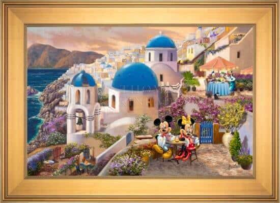 thomas kinkade studios Mickey and Minnie in Greece - Gold Frame
