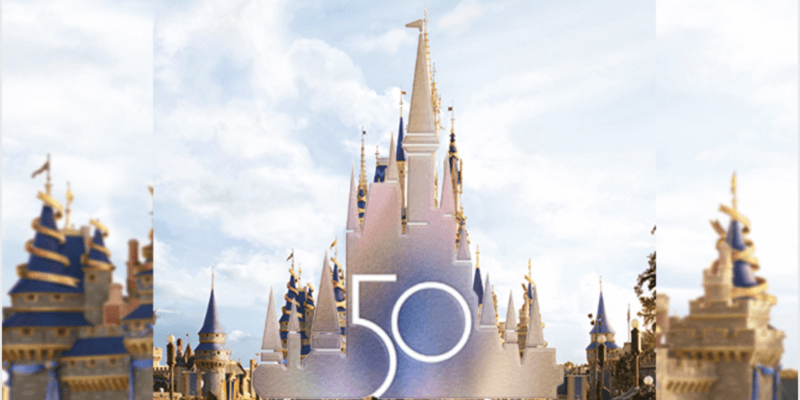 cinderella castle with disney world 50th logo