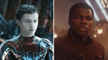 tom holland as spider man (left) and john boyega as finn (right)