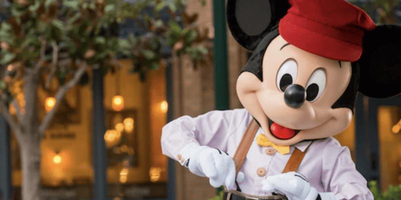 mickey mouse wearing newsboy costume at disney california adventure park