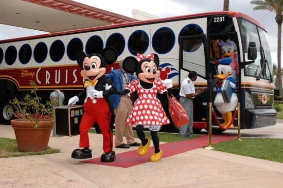 disney cruise line characters leaving bus
