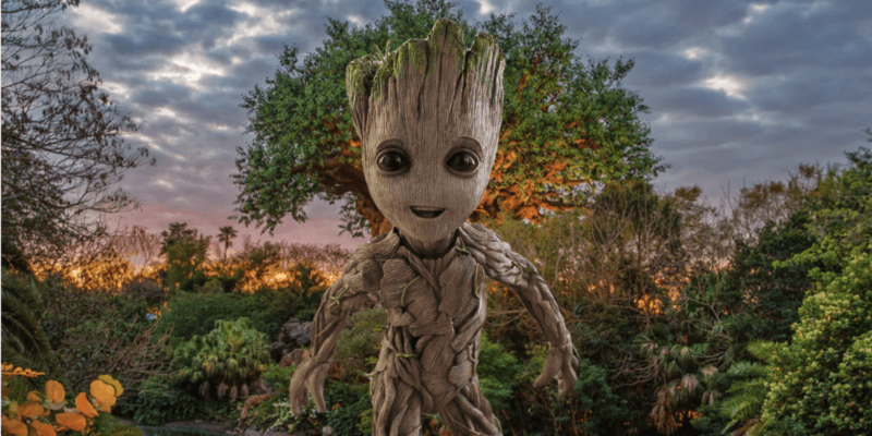 groot in front of tree of life animal kingdom