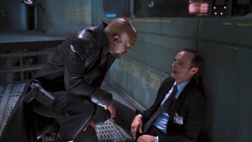 samuel l. jackson as nick fury (left) and clark gregg as agent phil coulson in marvel's the Avengers