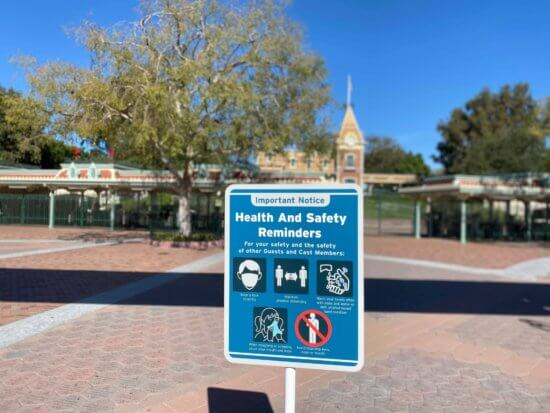 health and safety sign at disneyland