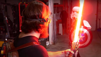 hacksmith industries plasma lightsaber battle with stormtrooper