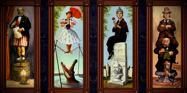 Haunted Mansion stretching paintings
