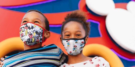 disney cruise line kids wearing disney cloth face masks