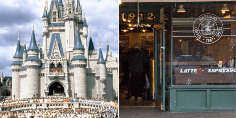 disney world cinderella castle on opening day (left) and starbucks pike place location (right)