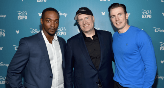 (left to right) anthony mackie, kevin feige, and chris evans at d23 expo