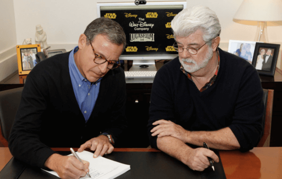 bob iger and george lucas signing contract for disney to buy lucasfilm
