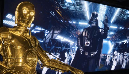 c3po and darth vader in star tours the adventure continues